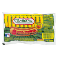 Nathan's Famous Bun Length Beef Franks Skinless - 8 ct