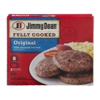 Jimmy Dean Pork Sausage Patties Original Fully Cooked - 8 ct