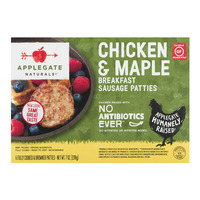 Applegate Naturals Breakfast Sausage Patties Chicken & Maple - 6 ct