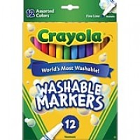 Crayola® Classic Washable Markers, Fine Point, Assorted, 12/Box