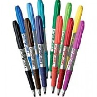 BIC Mark-it Permanent Marker, Fine Point Tip, Assorted Colors, Dozen (32592/GPMAP12AS)