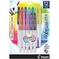 Pilot FriXion Colors Erasable Marker Pen, Bold Point, Assorted Ink, 12-Pack