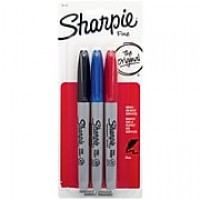 Sharpie Fine Point Permanent Markers, Assorted Colors, 3/Pack