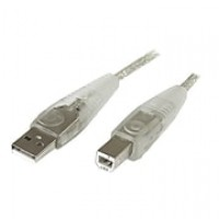 StarTech 15' A To B USB 2.0 Cable, Transparent