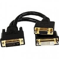 "Startech® 8"" DVI-I Male to DVI-D Male and HD15 VGA Male Wyse DVI Splitter Cable, Black"