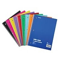 "Staples 1-Subject Notebook, 8"" x 10.5"", Wide Rule, 70 Sheets, Assorted (27497M)"