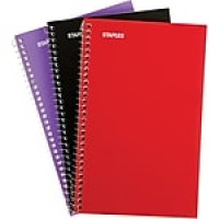 "Staples 1-Subject Notebook, 7"" x 5"", College Ruled, 80 Sheets, Assorted, 3/Pack (11670)"
