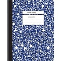 "Staples Composition Notebook, 9.75"" x 7.5"", Wide Ruled, 100 Sheets, Blue (27621M-CC)"