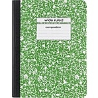 "Staples Composition Notebook, 9.75"" x 7.5"", Wide Ruled, 100 Sheets, Green (27623M-CC)"