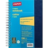 "Staples® 3 Subject Notebook, 6-1/2"" x 9-1/2"""
