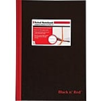 "Black n' Red™ Casebound Business Notebook, Hardcover, Ruled, 96 Sheets, 11 3/4"" x 8-1/4"", Black (D66174)"