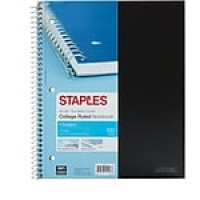 "Staples Accel 1-Subject Notebook, 8.5"" x 11"", College Ruled, 100 Sheets, Black (20950M-CC)"