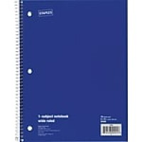 "Staples 1-Subject Notebook, 8"" x 10.5"", Wide Ruled, 70 Sheets, Blue (24003M)"