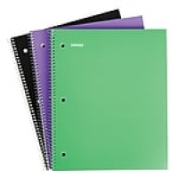"Staples 1 Subject Notebook, 8.5"" x 11"", College Ruled, 100 Sheets, Assorted, 3/Pack (11671M)"