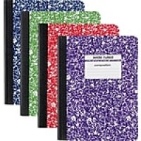 "Staples Composition Notebook, 9.75"" x 7.5"", Wide Ruled, 100 Sheets, Assorted (20702M-CC)"