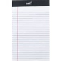 "Staples Notepads, 5"" x 8"", Narrow, White, 50 Sheets/Pad, 12 Pads/Pack (51296/23642)"