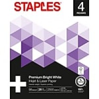 "Staples Inkjet & Laser Paper, 8 1/2"" x 11"", Bright White, 4-Ream Case"