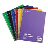 "Staples 1 Subject Notebook, 8"" x 10.5"", Wide Ruled, 70 Sheets, Assorted, 6/Pack (11667M)"