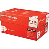 "Staples® Copy Paper, 20 Lb., 92 Bright, 11"" x 17"", White, 5-Ream Case (512215)"