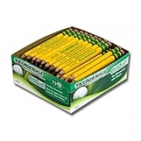Dixon® Tri-Conderoga® #2 Golf Woodcase Pencils with Eraser, Yellow Barrel, 72/Box