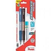Pentel Twist-Erase® Express Mechanical Pencils, Medium Point 0.7mm, Assorted Barrel, 2/Pk