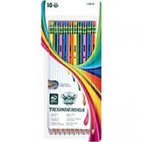 Dixon Ticonderoga® Striped Woodcase Pencils, #2 Soft, Assorted Colors, 10/Pack