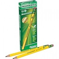 Dixon Ticonderoga® Beginners® Primary Woodcase Pencils with Eraser, #2 Soft, Yellow Barrel, 12/Bx