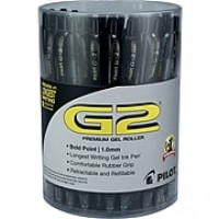 Pilot G2 Premium Retractable Gel-Ink Rolling Ball Pens, Bold Point (1.0mm), Black, 36/Pk (84095)