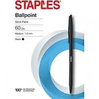Staples® Ballpoint Stick Pens, Med 1.0MM, Black, 60/PK (29250)