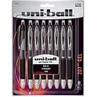 uni-ball 207 Retractable Gel Pens, Medium Point (0.7mm), Black, 8 Count (1756584)