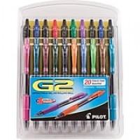 Pilot G2 Premium Retractable Gel Roller Pens, Fine Point, Assorted, 20/Pack (31294)