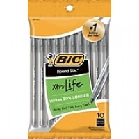 BIC® Round Stic Ball Point, Black, 10/Pk (20123)