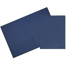 JAM Paper® 2 Pocket Matte Cardstock Presentation Folder, Presidential Blue, 6/pack (166632659b)