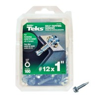 Teks #12 1 in. External Hex Flange Hex-Head Self-Drilling Screws (100-Pack)