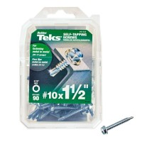 Teks #10 1-1/2 in. External Hex Flange Hex-Head Self-Drilling Screws (90-Pack)
