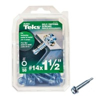Teks #14 1-1/2 in. External Hex Flange Hex-Head Self-Drilling Screws (50-Pack)
