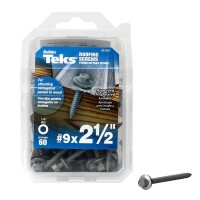 Teks #9 x 2-1/2 in. Hex-Washer-Head Sharp Point Roofing Screws with Washer (60-per Pack)