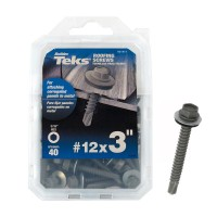 Teks #12 x 3 in. Hex-Washer-Head Roofing Screw with Washer (40-pieces per Pack)