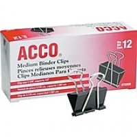 ACCO® Medium Binder Clips, Black, Dozen (A7072050B)