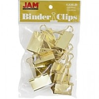 JAM Paper® Binder Clips, Large, 41mm, Gold Binderclips, 12/pack (340BCgo)