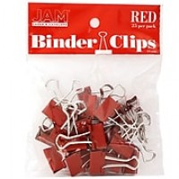JAM Paper® Colored Binder Clips, Small, 19mm, Red, 25/pack (334BCRE)