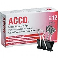 ACCO® Binder Clips, Non-Slip Grip, Black, 12/Box, Small