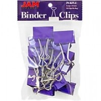 JAM Paper® Binder Clips, Large, 41mm, Purple Binderclips, 12/pack (340BCpu)