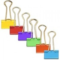JAM Paper® Binder Clips, Small, 19mm, 6 colors of Assorted Binderclips, 25 per color, 150 per set (334BCRGBYOP)