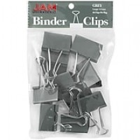 JAM Paper® Binder Clips, Large, 41mm, Grey Binderclips, 12/pack (340BCgy)