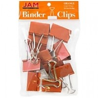 JAM Paper® Binder Clips, Large, 41mm, Orange Binderclips, 12/pack (340BCor)