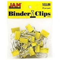JAM Paper® Colored Binder Clips, Small, 19mm, Yellow Binder Clips, 25/Pack (334BCYE)