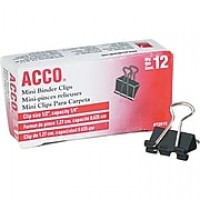"Acco® ACC72010 Binder Clip, Mini, 1/4"" Capacity, Black/Silver"