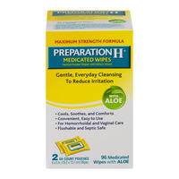 Preparation H Medicated Hemorrhoidal Wipes with Aloe 2 - 48 ct Pouches