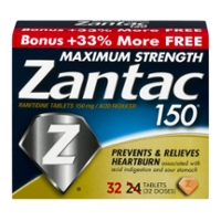 Zantac 150 Heartburn Tablets Maximum Strength with Ranitidine